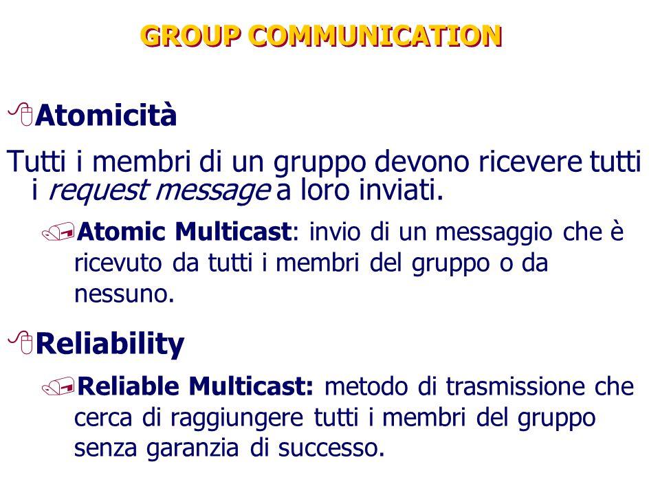 GROUP COMMUNICATION 8Atomicità Tutti i membri di un gruppo devono ricevere tutti i request message a loro inviati. /Atomic Multicast: invio di un mess