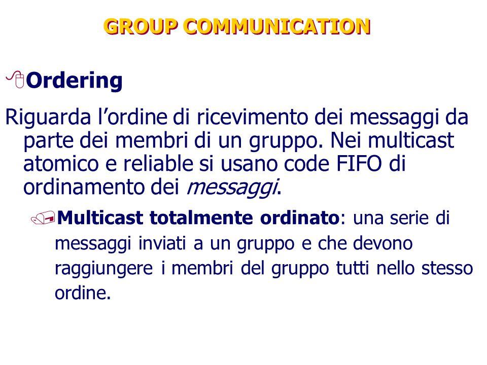 GROUP COMMUNICATION 8Ordering Riguarda l'ordine di ricevimento dei messaggi da parte dei membri di un gruppo. Nei multicast atomico e reliable si usan