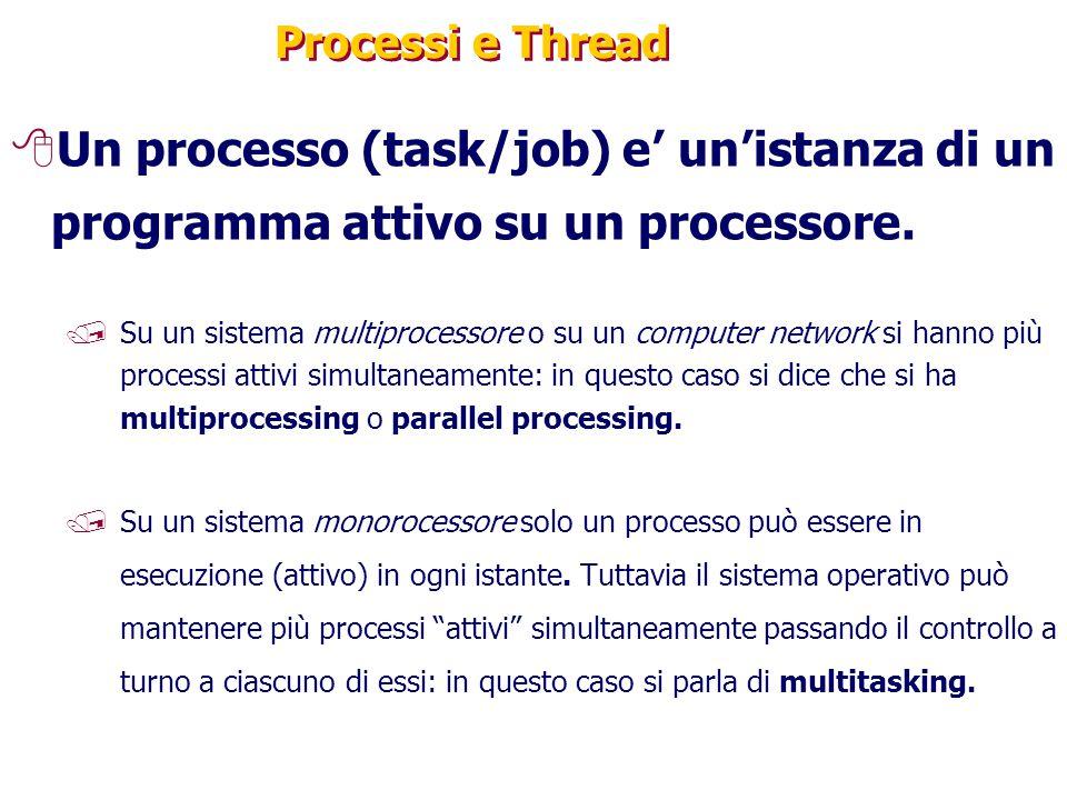 Processi e Thread 8Un processo (task/job) e' un'istanza di un programma attivo su un processore. /Su un sistema multiprocessore o su un computer netwo