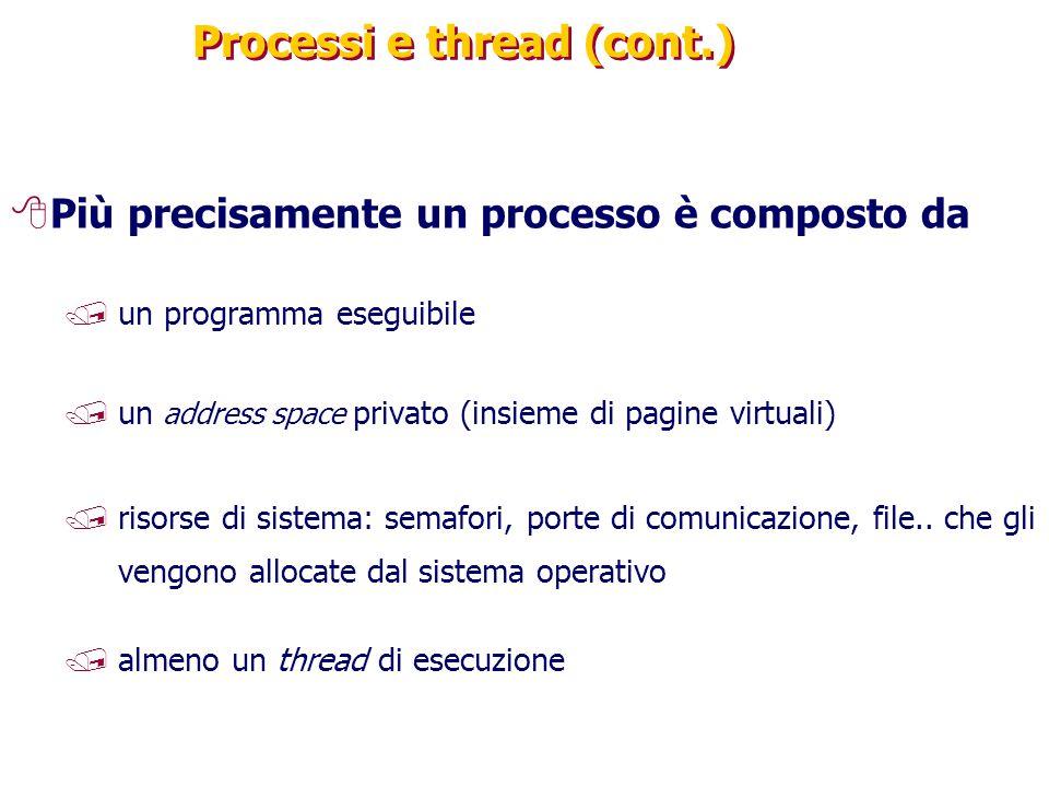 Processi e thread (cont.) 8Più precisamente un processo è composto da /un programma eseguibile /un address space privato (insieme di pagine virtuali) /risorse di sistema: semafori, porte di comunicazione, file..