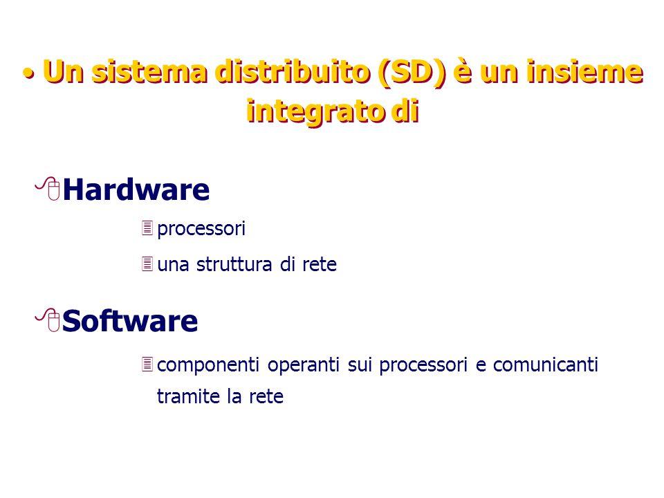 Un sistema distribuito (SD) è un insieme integrato di 8Hardware 3processori 3una struttura di rete 8Software 3componenti operanti sui processori e comunicanti tramite la rete