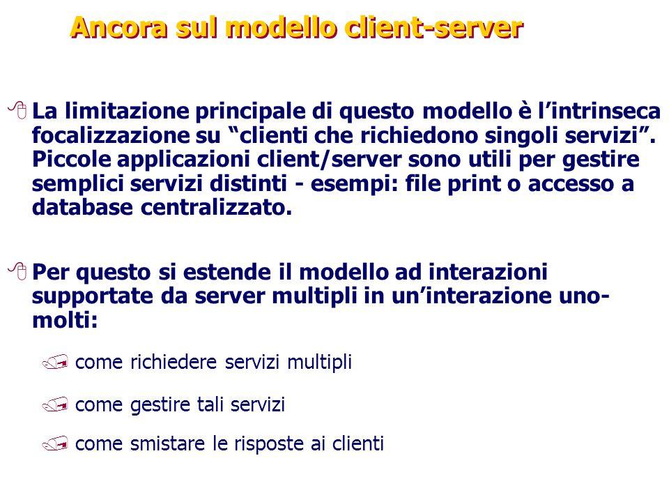 """Ancora sul modello client-server 8La limitazione principale di questo modello è l'intrinseca focalizzazione su """"clienti che richiedono singoli servizi"""