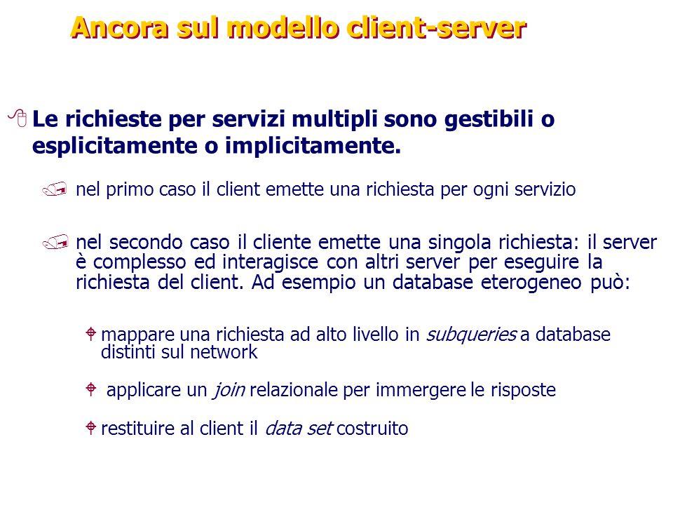 Ancora sul modello client-server 8Le richieste per servizi multipli sono gestibili o esplicitamente o implicitamente. /nel primo caso il client emette