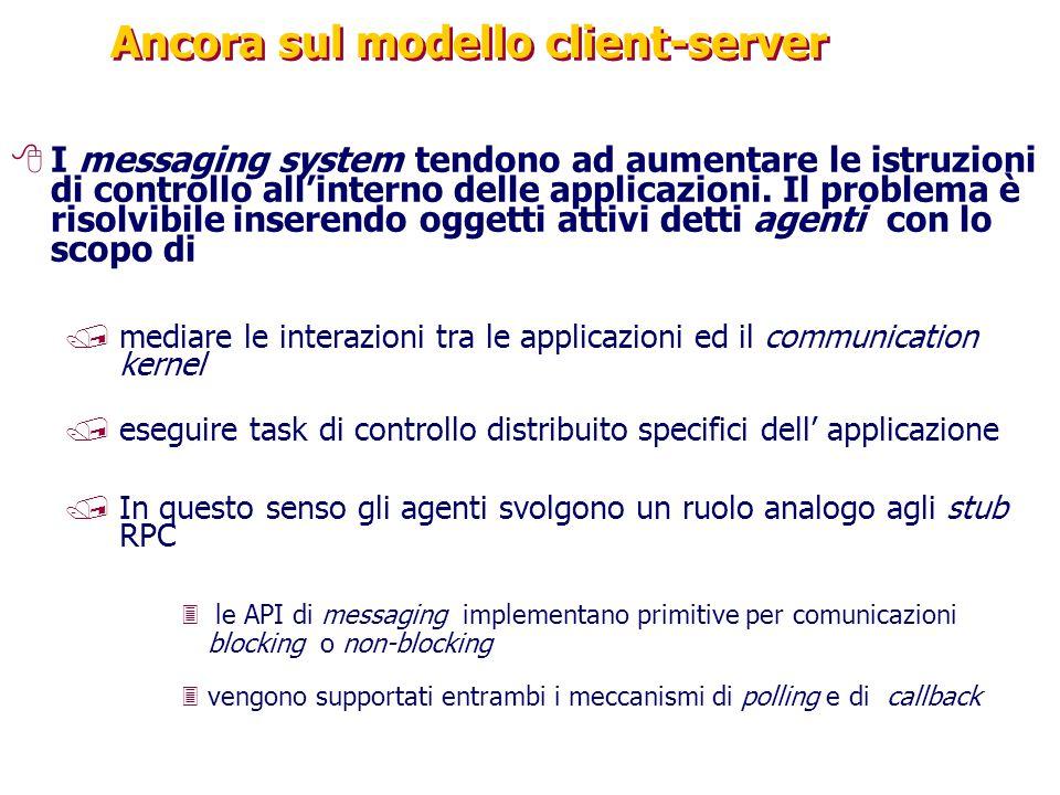 Ancora sul modello client-server 8I messaging system tendono ad aumentare le istruzioni di controllo all'interno delle applicazioni.