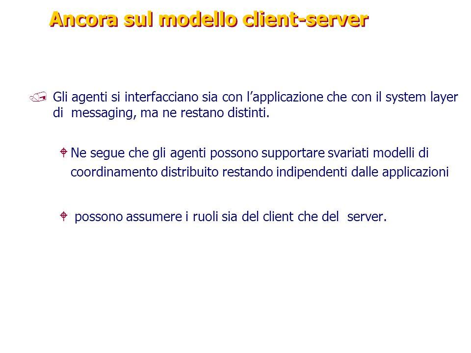 Ancora sul modello client-server /Gli agenti si interfacciano sia con l'applicazione che con il system layer di messaging, ma ne restano distinti.