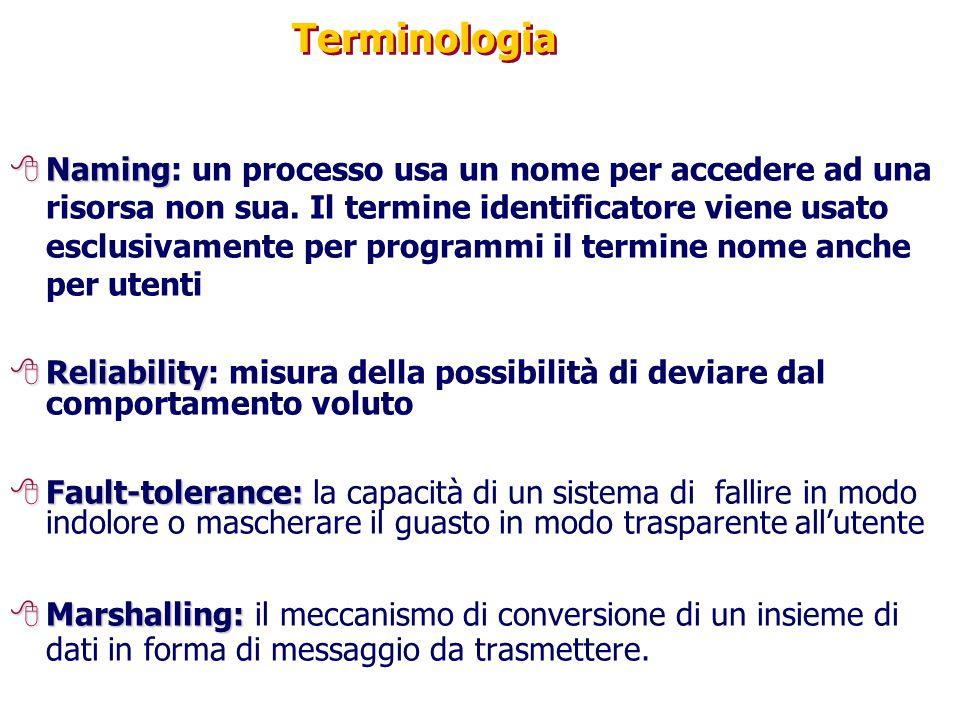 Terminologia 8Naming 8Naming: un processo usa un nome per accedere ad una risorsa non sua. Il termine identificatore viene usato esclusivamente per pr
