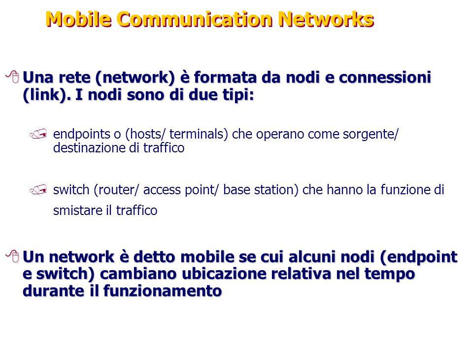 Mobile Communication Networks 8Una rete (network) è formata da nodi e connessioni (link). I nodi sono di due tipi: /endpoints o (hosts/ terminals) che