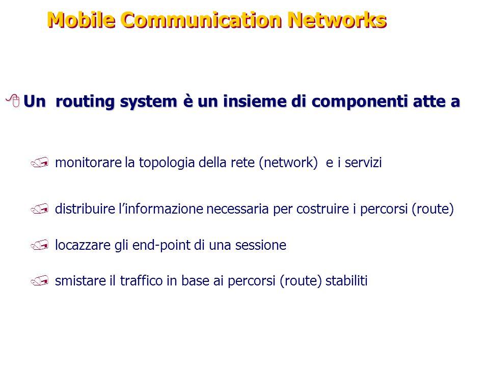 Mobile Communication Networks 8Un routing system è un insieme di componenti atte a /monitorare la topologia della rete (network) e i servizi /distribuire l'informazione necessaria per costruire i percorsi (route) /locazzare gli end-point di una sessione /smistare il traffico in base ai percorsi (route) stabiliti