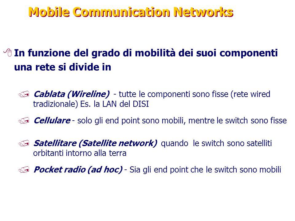 Mobile Communication Networks 8In funzione del grado di mobilità dei suoi componenti una rete si divide in /Cablata (Wireline) - tutte le componenti sono fisse (rete wired tradizionale) Es.