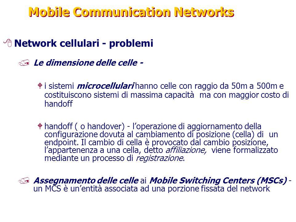 Mobile Communication Networks 8Network cellulari - problemi /Le dimensione delle celle - Wi sistemi microcellulari hanno celle con raggio da 50m a 500m e costituiscono sistemi di massima capacità ma con maggior costo di handoff Whandoff ( o handover) - l'operazione di aggiornamento della configurazione dovuta al cambiamento di posizione (cella) di un endpoint.