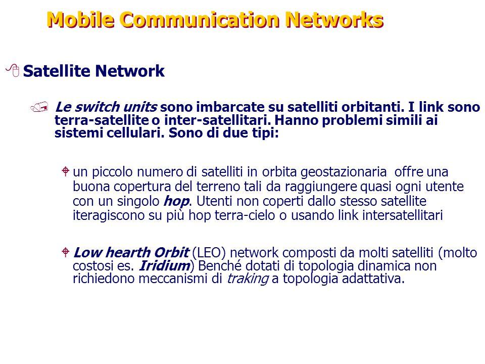 Mobile Communication Networks 8Satellite Network /Le switch units sono imbarcate su satelliti orbitanti. I link sono terra-satellite o inter-satellita