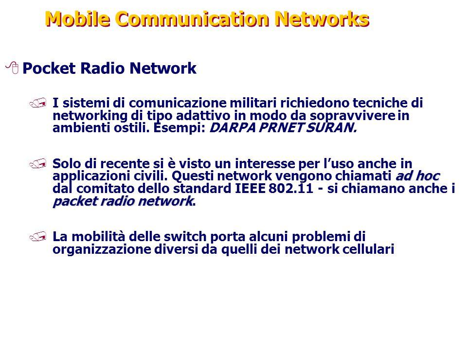 Mobile Communication Networks 8Pocket Radio Network /I sistemi di comunicazione militari richiedono tecniche di networking di tipo adattivo in modo da sopravvivere in ambienti ostili.