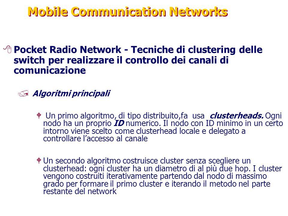 Mobile Communication Networks 8Pocket Radio Network - Tecniche di clustering delle switch per realizzare il controllo dei canali di comunicazione /Algoritmi principali W Un primo algoritmo, di tipo distribuito,fa usa clusterheads.
