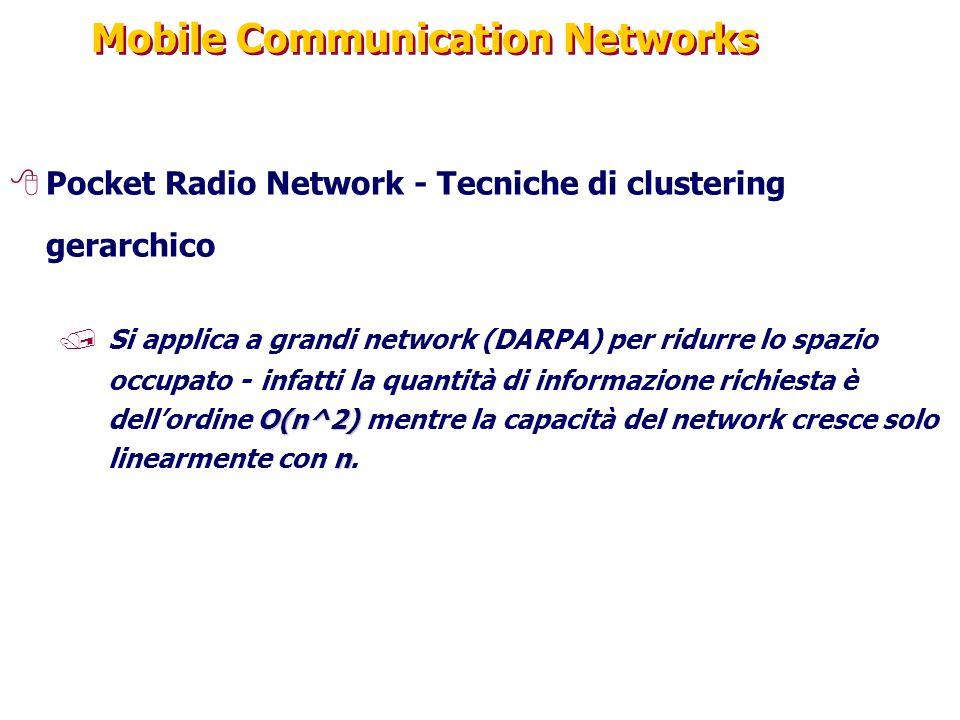 Mobile Communication Networks 8Pocket Radio Network - Tecniche di clustering gerarchico O(n^2) n /Si applica a grandi network (DARPA) per ridurre lo spazio occupato - infatti la quantità di informazione richiesta è dell'ordine O(n^2) mentre la capacità del network cresce solo linearmente con n.