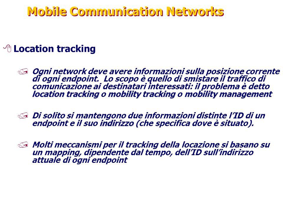 Mobile Communication Networks 8Location tracking location trackingmobility trackingmobility management /Ogni network deve avere informazioni sulla pos
