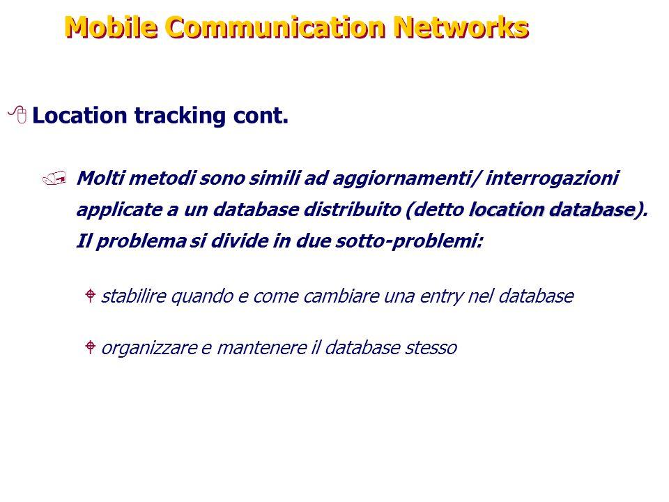 Mobile Communication Networks 8Location tracking cont. location database /Molti metodi sono simili ad aggiornamenti/ interrogazioni applicate a un dat