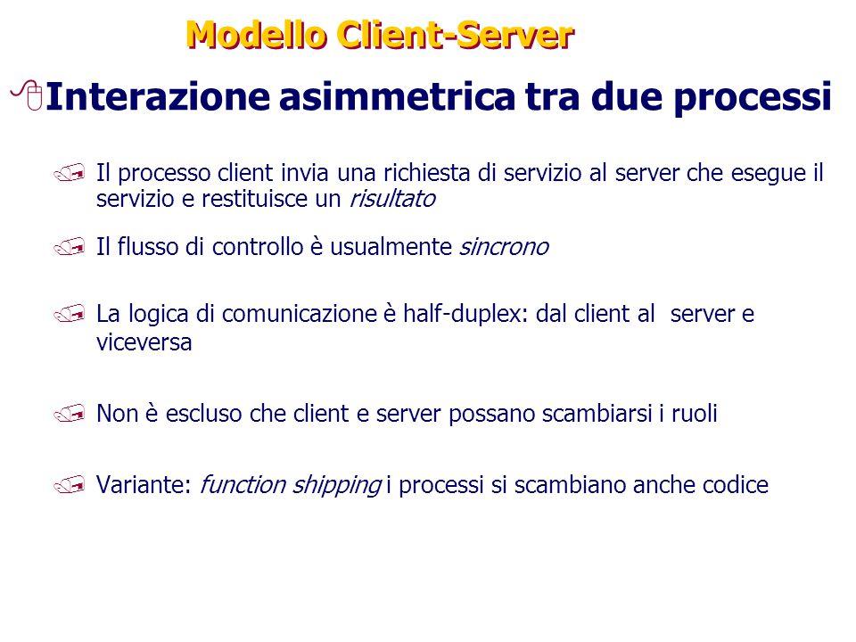 Modello Client-Server 8Interazione asimmetrica tra due processi /Il processo client invia una richiesta di servizio al server che esegue il servizio e restituisce un risultato /Il flusso di controllo è usualmente sincrono /La logica di comunicazione è half-duplex: dal client al server e viceversa /Non è escluso che client e server possano scambiarsi i ruoli /Variante: function shipping i processi si scambiano anche codice