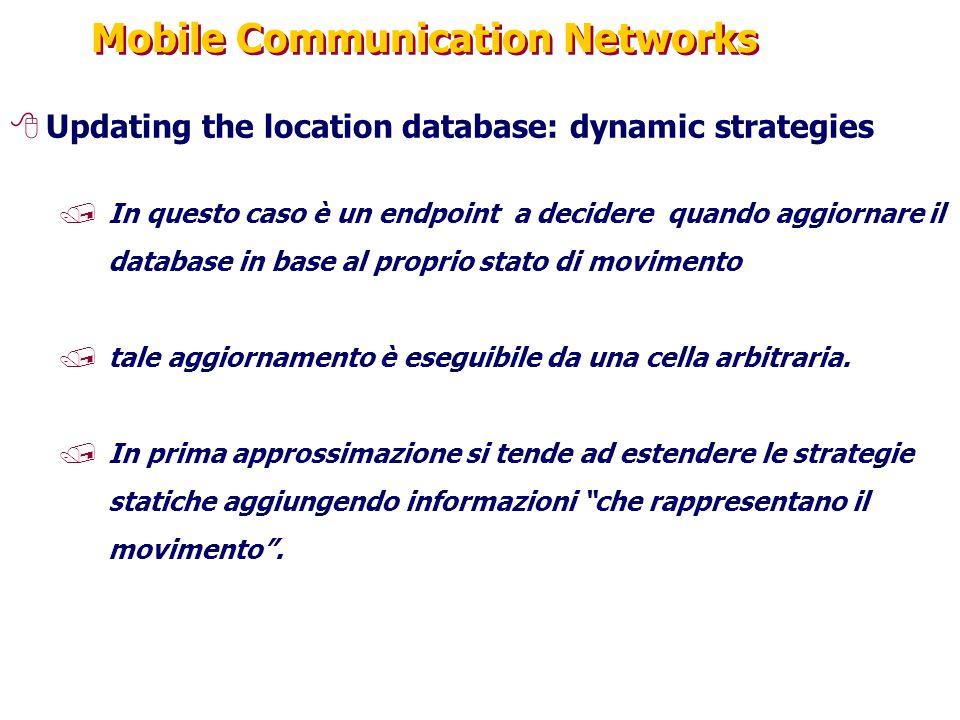 Mobile Communication Networks 8Updating the location database: dynamic strategies /In questo caso è un endpoint a decidere quando aggiornare il database in base al proprio stato di movimento /tale aggiornamento è eseguibile da una cella arbitraria.