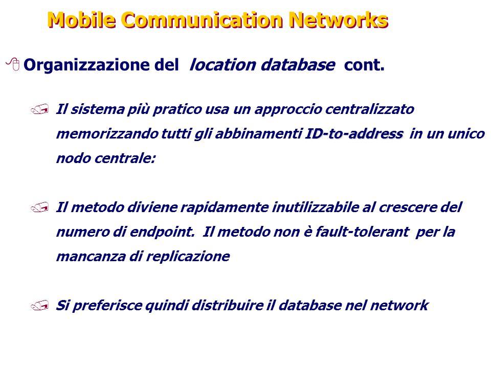 Mobile Communication Networks 8Organizzazione del location database cont. ID-to-address /Il sistema più pratico usa un approccio centralizzato memoriz