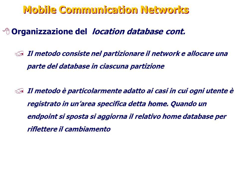 Mobile Communication Networks 8Organizzazione del location database cont. /Il metodo consiste nel partizionare il network e allocare una parte del dat