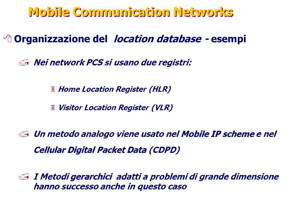Mobile Communication Networks 8Organizzazione del location database - esempi /Nei network PCS si usano due registri: 3Home Location Register (HLR) 3Vi