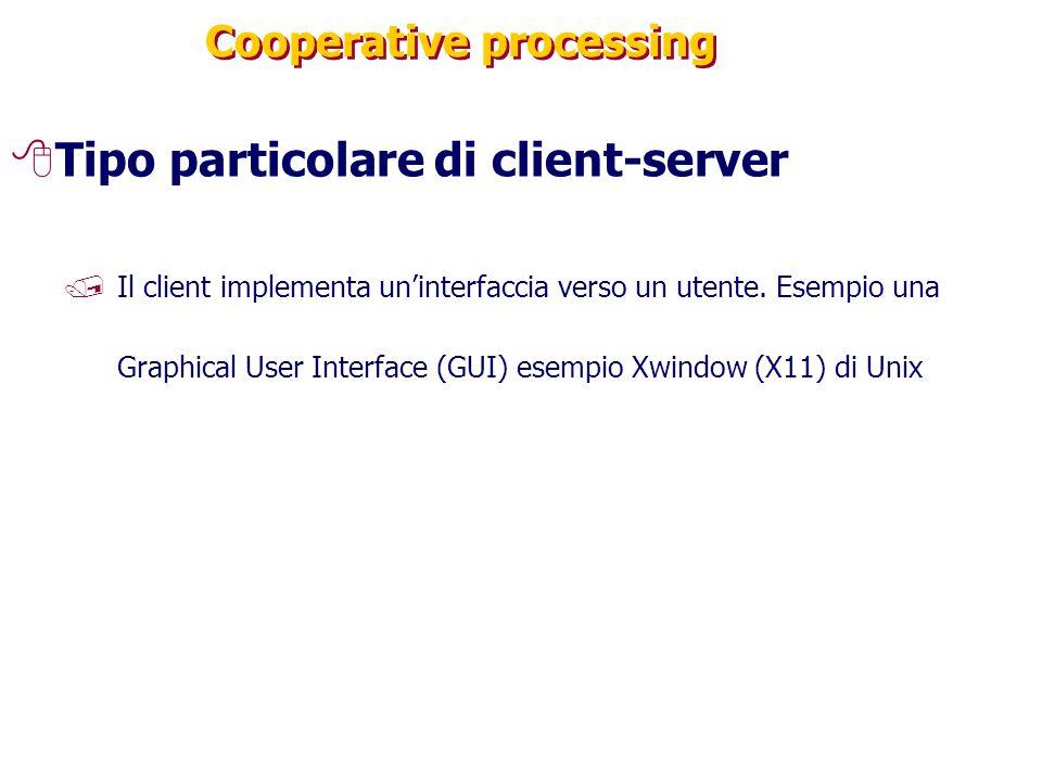 Cooperative processing 8Tipo particolare di client-server /Il client implementa un'interfaccia verso un utente. Esempio una Graphical User Interface (