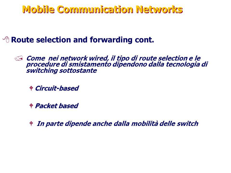 Mobile Communication Networks 8Route selection and forwarding cont. /Come nei network wired, il tipo di route selection e le procedure di smistamento
