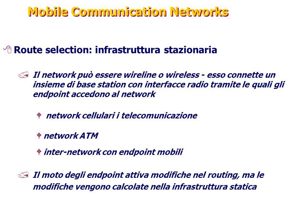 Mobile Communication Networks 8Route selection: infrastruttura stazionaria /Il network può essere wireline o wireless - esso connette un insieme di ba