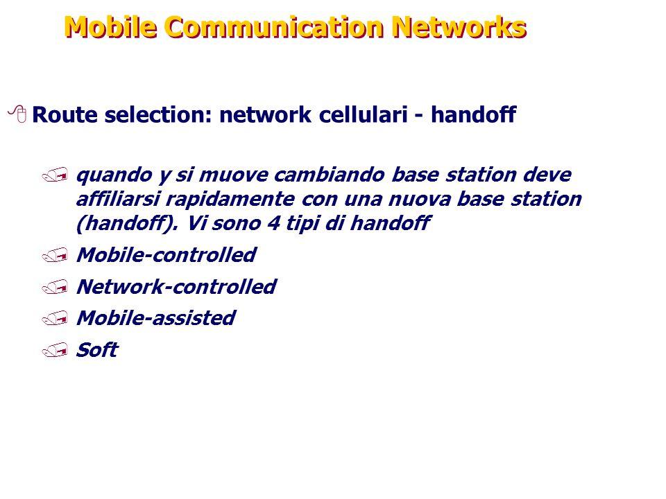 Mobile Communication Networks 8Route selection: network cellulari - handoff /quando y si muove cambiando base station deve affiliarsi rapidamente con una nuova base station (handoff).