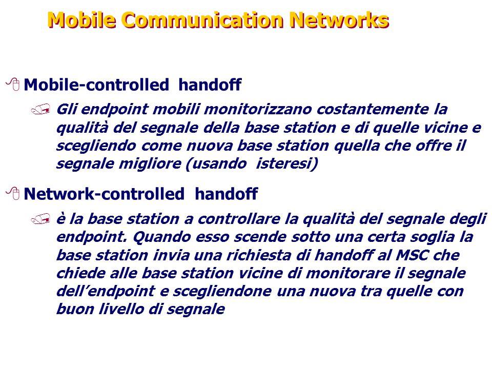 Mobile Communication Networks 8Mobile-controlled handoff /Gli endpoint mobili monitorizzano costantemente la qualità del segnale della base station e di quelle vicine e scegliendo come nuova base station quella che offre il segnale migliore (usando isteresi) 8Network-controlled handoff /è la base station a controllare la qualità del segnale degli endpoint.