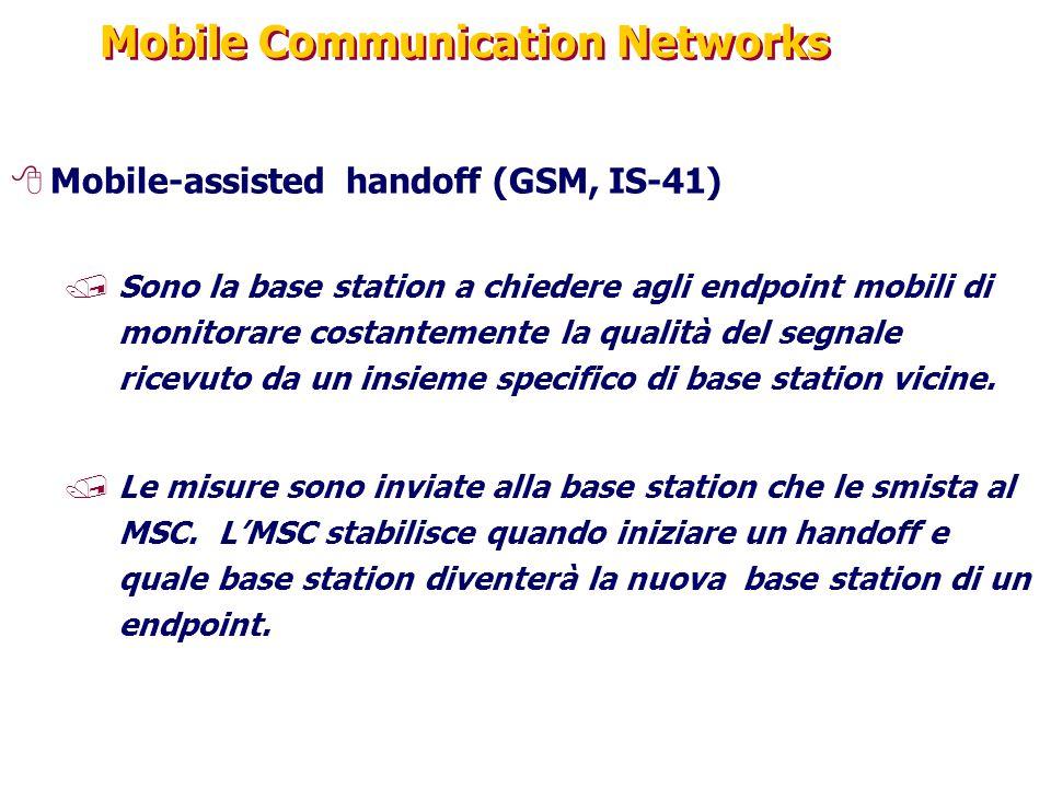 Mobile Communication Networks 8Mobile-assisted handoff (GSM, IS-41) /Sono la base station a chiedere agli endpoint mobili di monitorare costantemente la qualità del segnale ricevuto da un insieme specifico di base station vicine.
