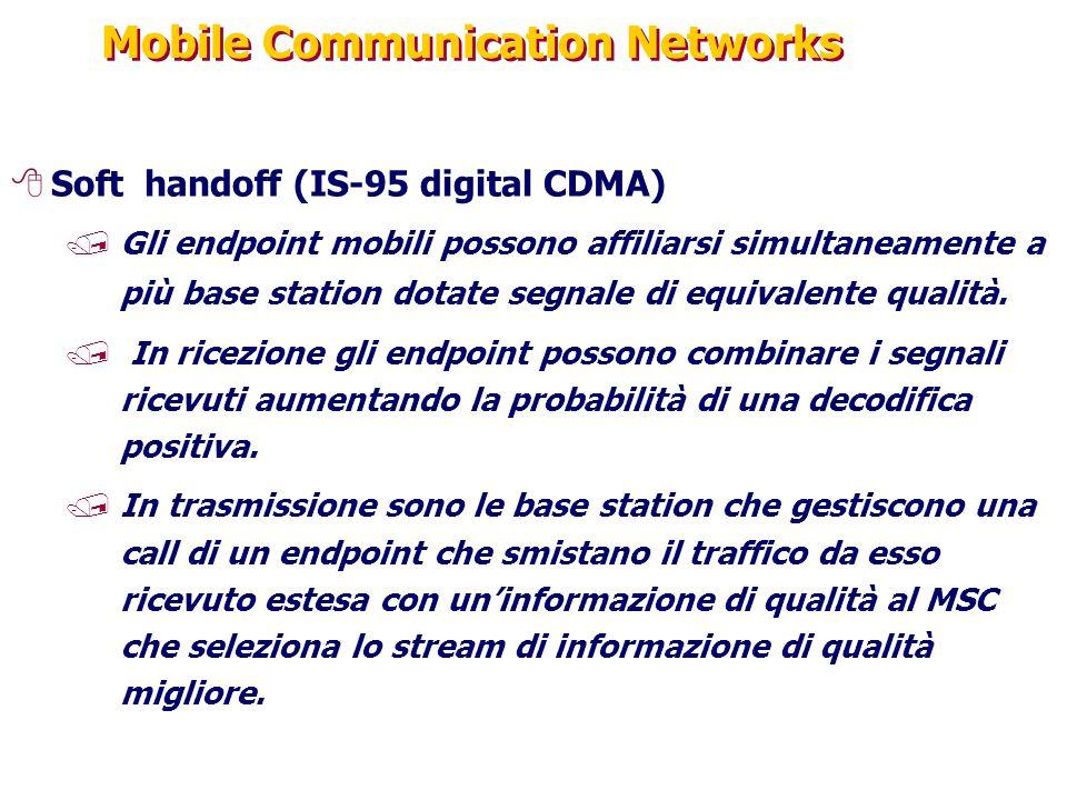 Mobile Communication Networks 8Soft handoff (IS-95 digital CDMA) /Gli endpoint mobili possono affiliarsi simultaneamente a più base station dotate segnale di equivalente qualità.