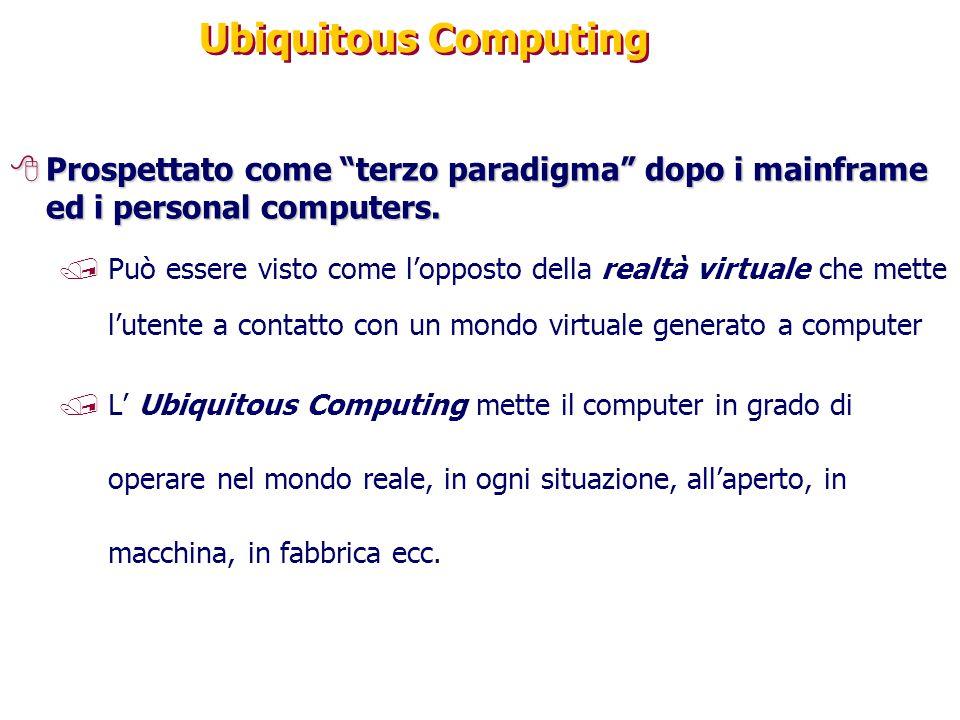 """Ubiquitous Computing 8Prospettato come """"terzo paradigma"""" dopo i mainframe ed i personal computers. /Può essere visto come l'opposto della realtà virtu"""