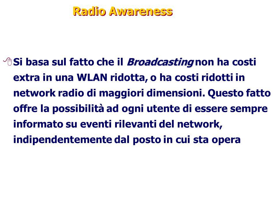 Radio Awareness Broadcasting 8Si basa sul fatto che il Broadcasting non ha costi extra in una WLAN ridotta, o ha costi ridotti in network radio di maggiori dimensioni.