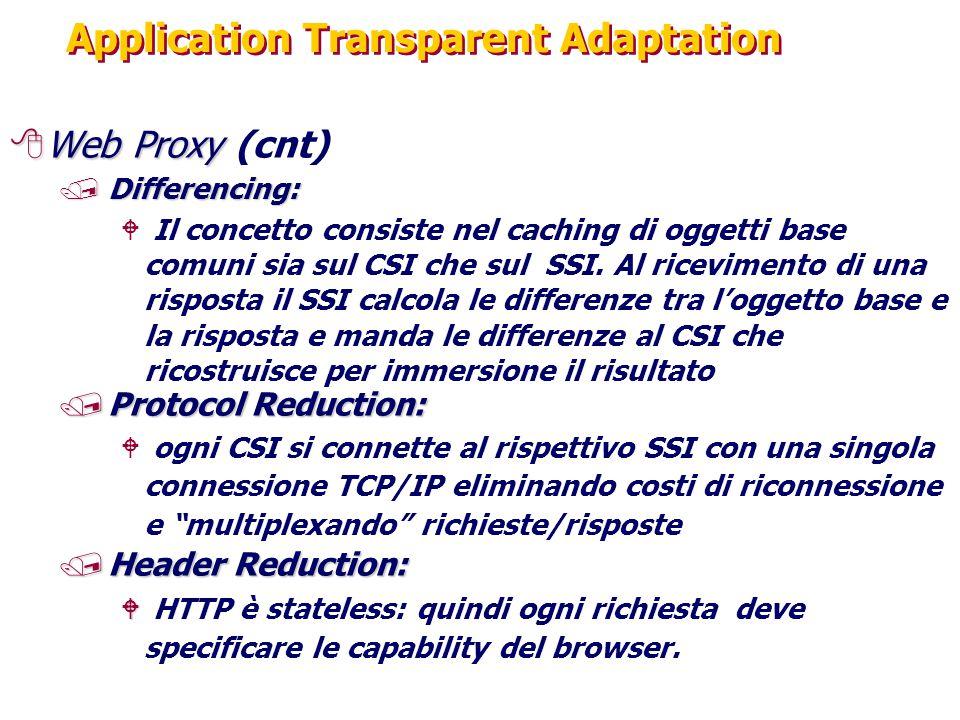 Application Transparent Adaptation 8Web Proxy 8Web Proxy (cnt) /Differencing: W Il concetto consiste nel caching di oggetti base comuni sia sul CSI che sul SSI.