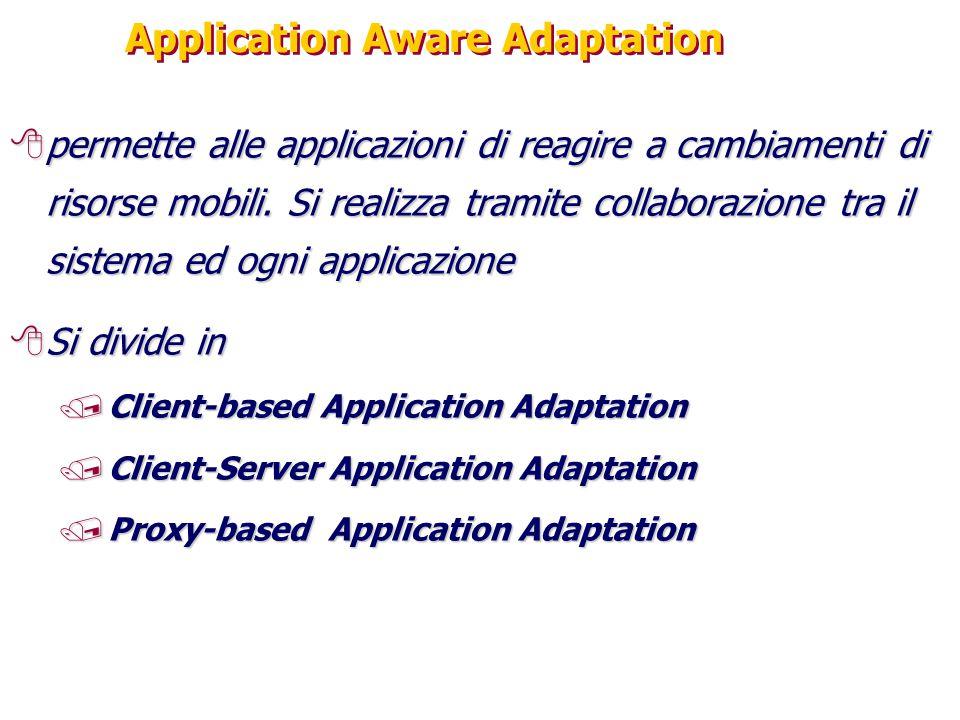 Application Aware Adaptation 8permette alle applicazioni di reagire a cambiamenti di risorse mobili. Si realizza tramite collaborazione tra il sistema