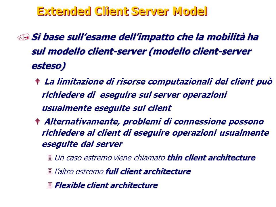 Extended Client Server Model /Si base sull'esame dell'impatto che la mobilità ha sul modello client-server (modello client-server esteso) W W La limit