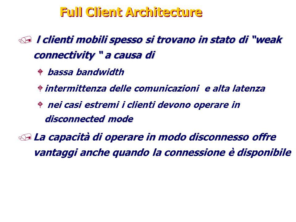"""Full Client Architecture / l clienti mobili spesso si trovano in stato di """"weak connectivity """" a causa di W W bassa bandwidth Wintermittenza delle com"""