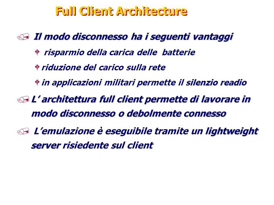 Full Client Architecture / Il modo disconnesso ha i seguenti vantaggi W risparmio della carica delle batterie Wriduzione del carico sulla rete silenzi