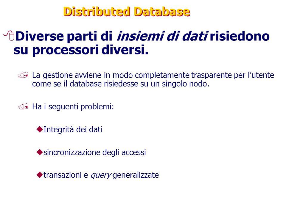 Distributed Database 8Diverse parti di insiemi di dati risiedono su processori diversi. /La gestione avviene in modo completamente trasparente per l'u