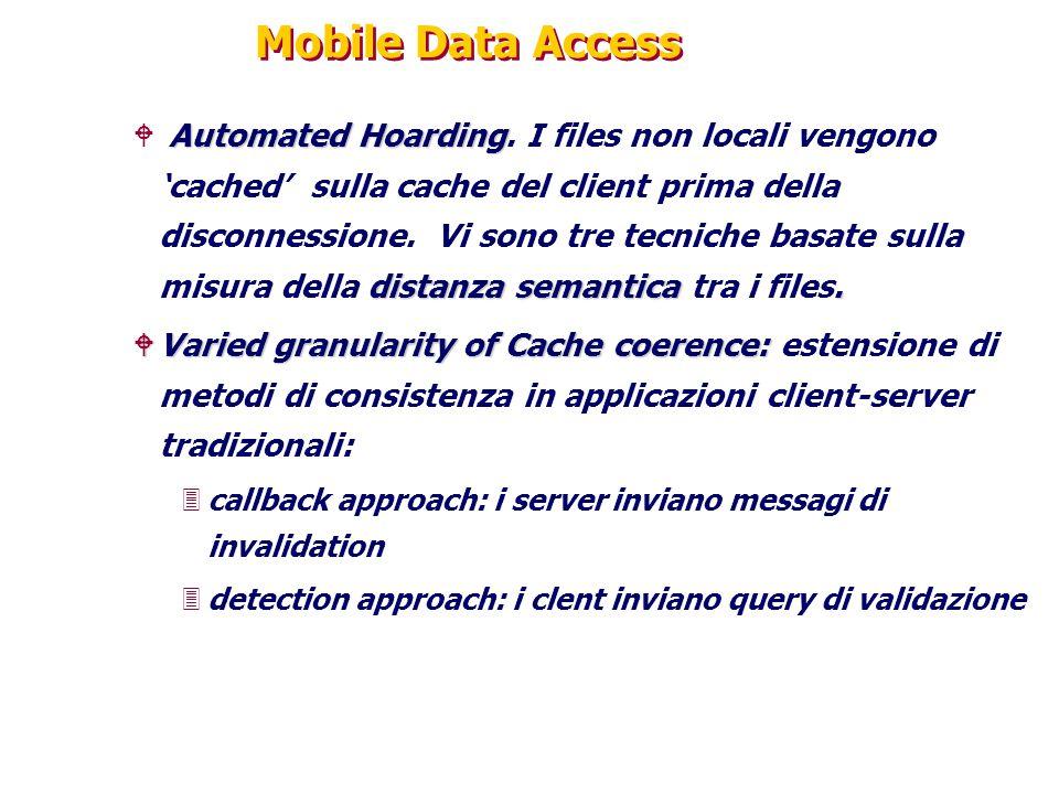 Mobile Data Access Automated Hoarding distanza semantica. W Automated Hoarding. I files non locali vengono 'cached' sulla cache del client prima della