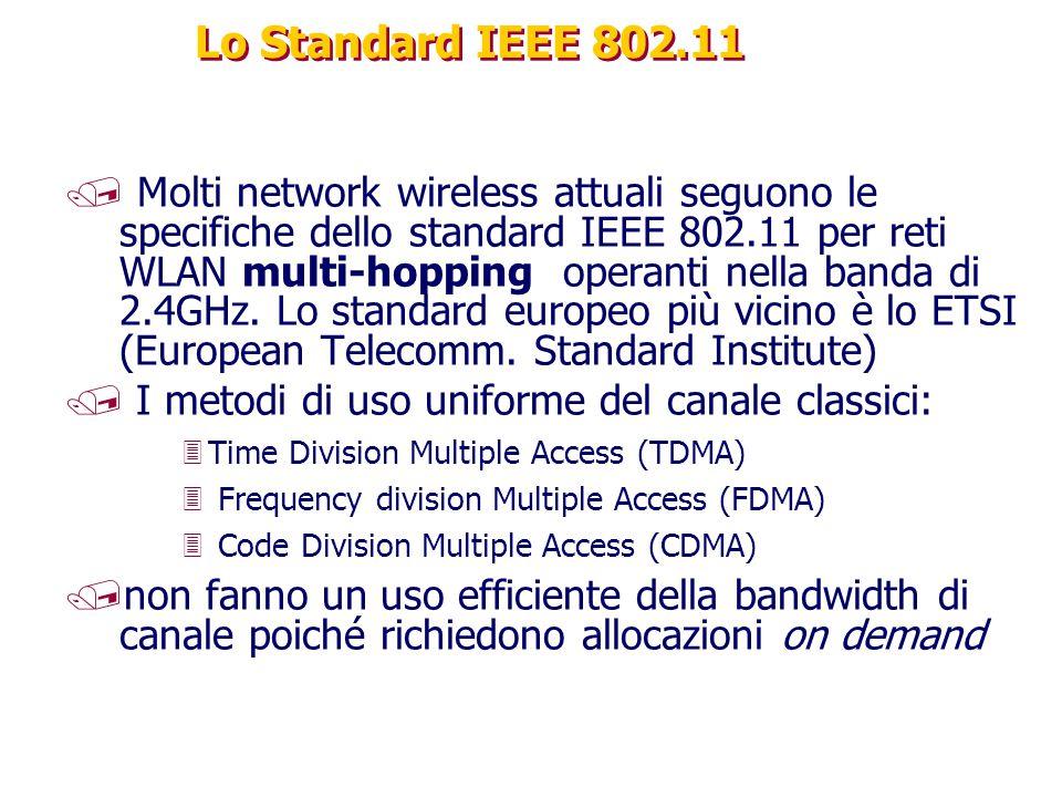 Lo Standard IEEE 802.11 / Molti network wireless attuali seguono le specifiche dello standard IEEE 802.11 per reti WLAN multi-hopping operanti nella b