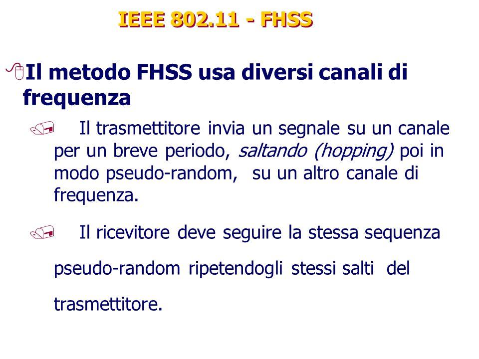 IEEE 802.11 - FHSS 8Il metodo FHSS usa diversi canali di frequenza / Il trasmettitore invia un segnale su un canale per un breve periodo, saltando (hopping) poi in modo pseudo-random, su un altro canale di frequenza.