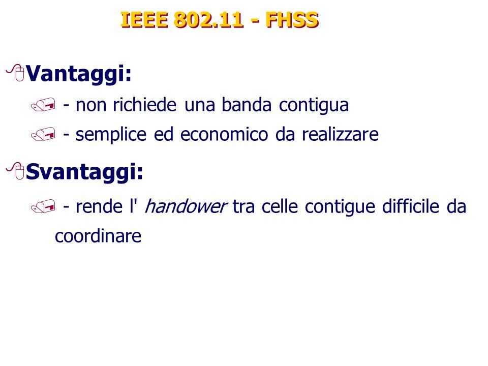 IEEE 802.11 - FHSS 8Vantaggi: / - non richiede una banda contigua / - semplice ed economico da realizzare 8Svantaggi: / - rende l handower tra celle contigue difficile da coordinare
