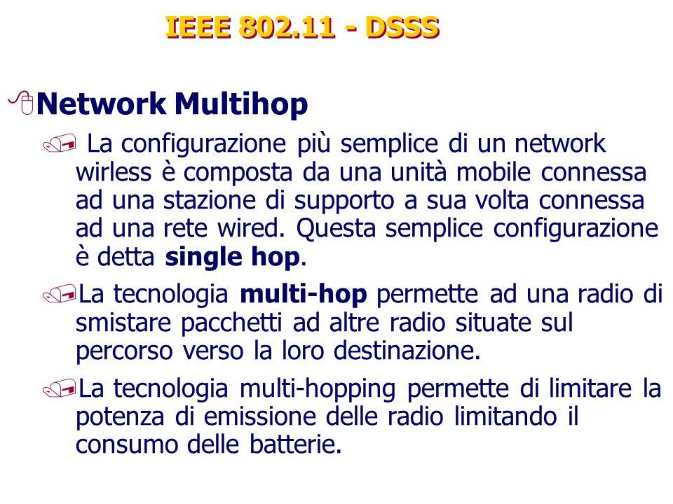 IEEE 802.11 - DSSS 8Network Multihop / La configurazione più semplice di un network wirless è composta da una unità mobile connessa ad una stazione di supporto a sua volta connessa ad una rete wired.