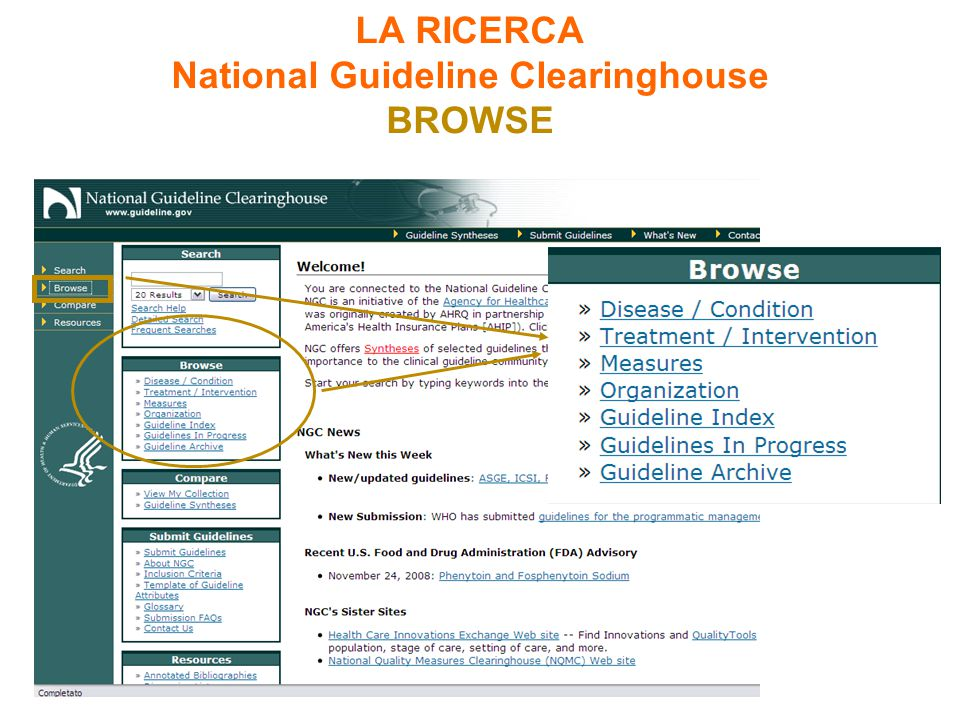 LA RICERCA National Guideline Clearinghouse BROWSE