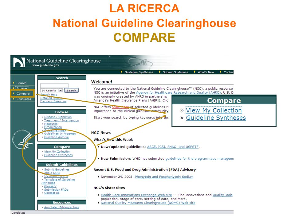 LA RICERCA National Guideline Clearinghouse COMPARE