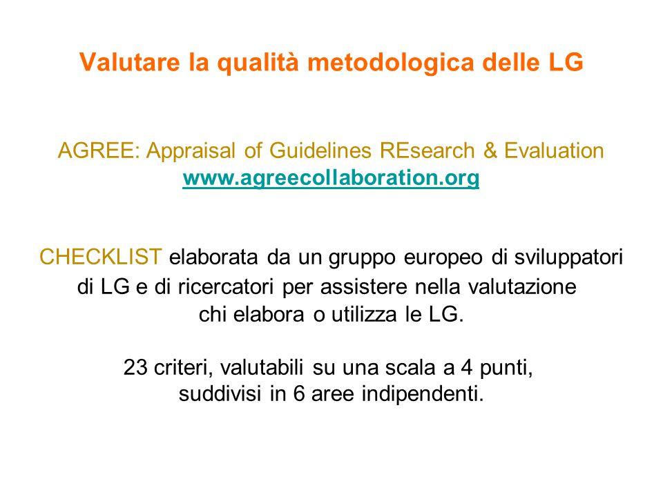 Valutare la qualità metodologica delle LG AGREE: Appraisal of Guidelines REsearch & Evaluation www.agreecollaboration.org CHECKLIST elaborata da un gruppo europeo di sviluppatori di LG e di ricercatori per assistere nella valutazione chi elabora o utilizza le LG.