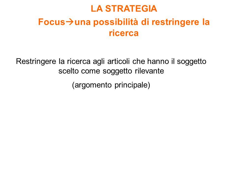 Restringere la ricerca agli articoli che hanno il soggetto scelto come soggetto rilevante (argomento principale) LA STRATEGIA Focus  una possibilità di restringere la ricerca
