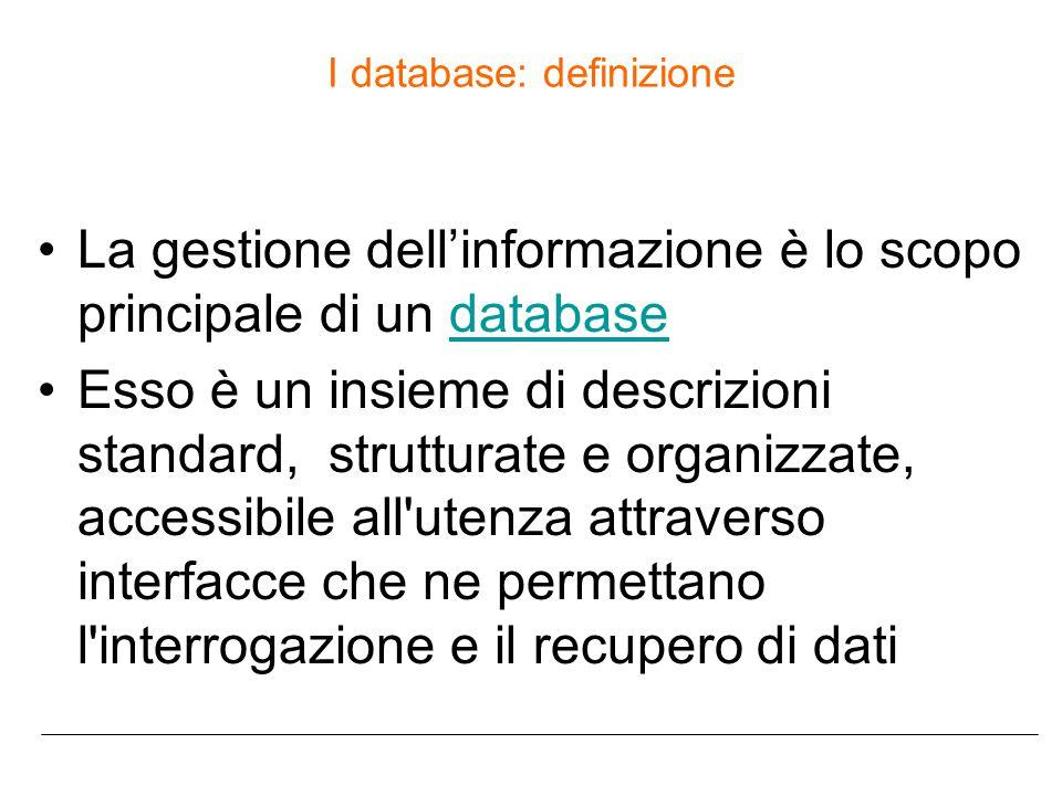 I database: definizione La gestione dell'informazione è lo scopo principale di un databasedatabase Esso è un insieme di descrizioni standard, strutturate e organizzate, accessibile all utenza attraverso interfacce che ne permettano l interrogazione e il recupero di dati